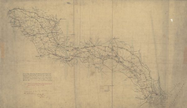 This pen and ink map sketches the route taken by General Sherman's troops from Atlanta, Georgia, to Savannah, Georgia.  Railroads, rivers, and towns are labeled.