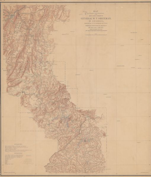 Map Of Jonesboro Georgia.Map Illustrating The Operations Of The Army Under Command Of Gen