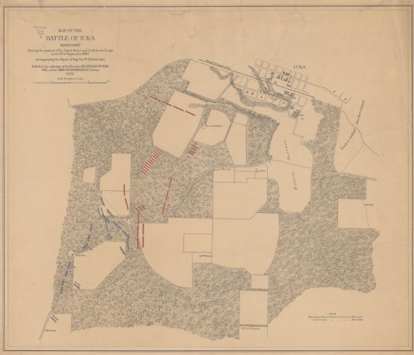 "This map of the Battle of Iuka depicts the May 19, 1862, positions of the Union forces in blue and Confederate in red. Indicated on the map are roads, the ""route to heights commanding Fulton Road"" street pattern and buildings in Iuka, houses and names of residents in outlying areas, fences, ""Memphis & Charleston R.R."" vegetation, drainage, and relief by hachures. The 8th Wisconsin Infantry, 14th Wisconsin Infantry, and 16th Wisconsin Infantry regiments and the 8th Wisconsin Light Artillery and 12th Wisconsin Light Artillery batteries were present at Iuka but saw little or no action."