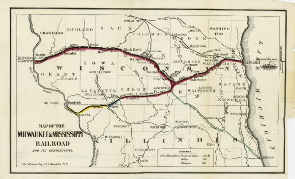 Map of the Milwaukee Mississippi railroad and its connections