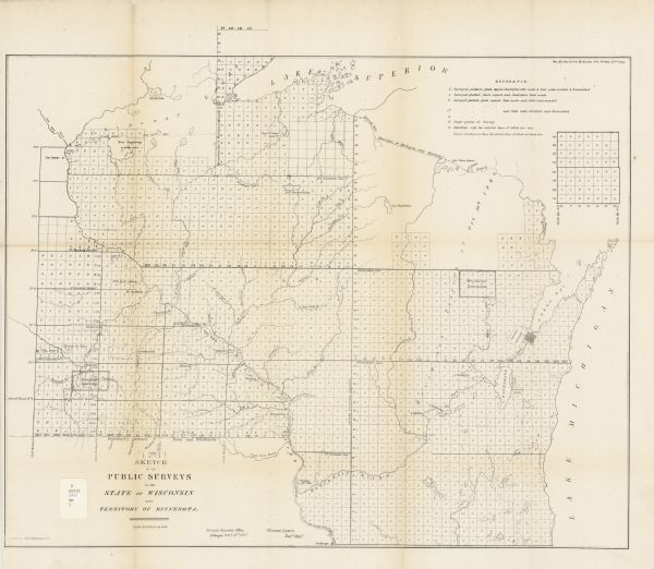 A map of the state of Wisconsin and the southeastern portion of the Territory of Minnesota, showing the Wisconsin reservations of the Oneida, Menominee, Stockbridge, and Brothertown Indians, the Winnebago reservation south of Mankato, Minnesota, and the Menominee Cession of 1848 are shown.  Also depicted in the map are the towns of Winona, Minnesota and Prairie do Chien, Wisconsin.  The approximate scale of the map is 1:1,140,480 (18 miles to an inch).