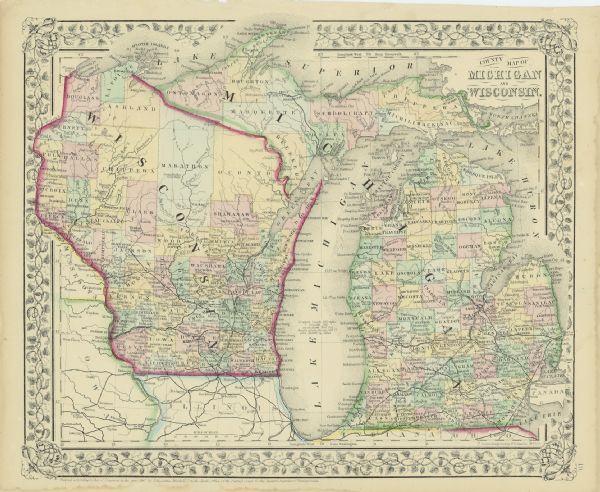 Michigan And Wisconsin Map.County Map Of Michigan And Wisconsin Map Or Atlas Wisconsin