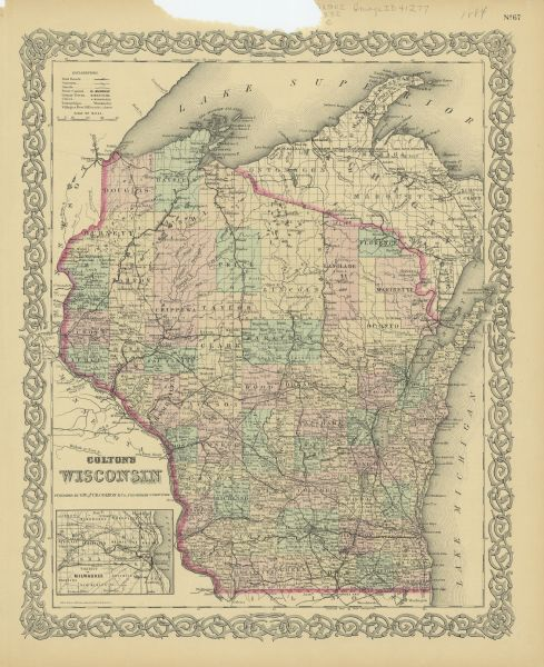 This basic reference map of the state shows natural features, railroads, county seats, and political boundaries against the G.L.O. township and range grid. It includes an inset map of the Milwaukee area.