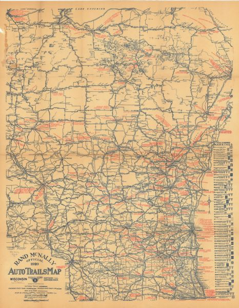 Rand McNally Official Auto Trails Map District No Wisconsin - Mich map
