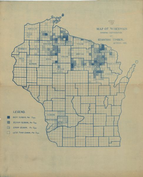 This Wisconsin State Conservation Commission map shows the distribution of standing timber per township. The northern tier of counties is covered, as are Vernon, Crawford, and Richland counties in the southwestern part of the state.