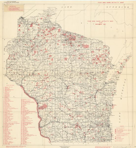 This Wisconsin Conservation Department map shows the locations of game refuges, fish hatcheries, canning factories, fish camps, and fish refuges in the state as of November 1937. Four areas--Clam Lake, Argonne, Coon Creek, and American Legion State Forest--which are closed for the protection of game are also identified.