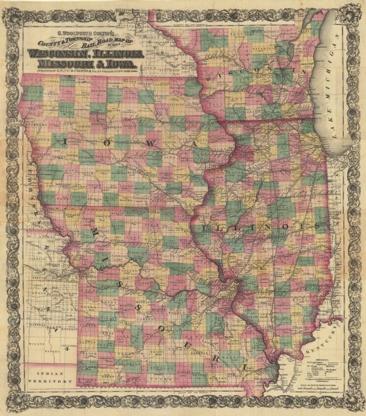 G  Woolworth Colton's County and Township Rail Road Map of Wisconsin