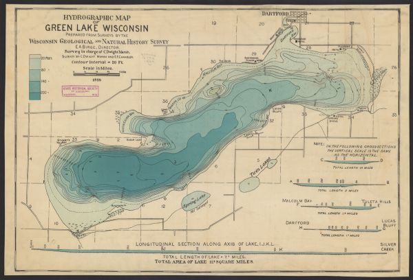 Hydrographic Map of Green Lake, Wisconsin | Map or Atlas ...