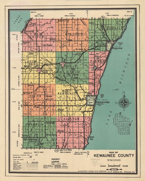 Map of Kewaunee County, Wisconsin, shows towns, cities and villages, roads and highways, railroads, schools, lighthouses, place names, town divisions, commercial and municipal fields.  A location map is included. Approximate scale of the map is: 1:126,720.