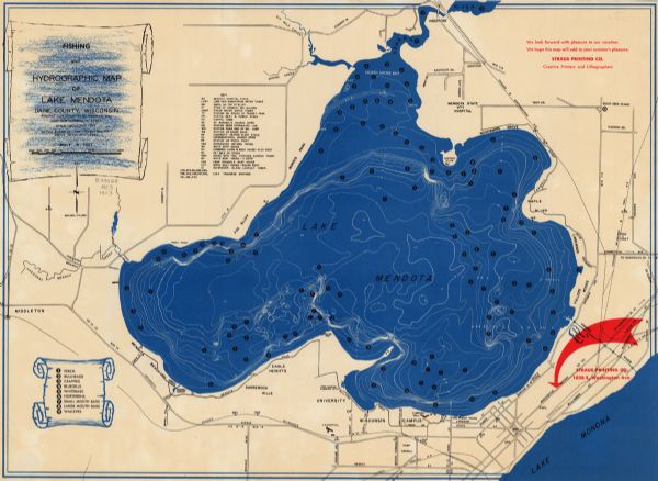 Encounter On Lake Mendota >> Fishing And Hydrographic Map Of Lake Mendota Dane County