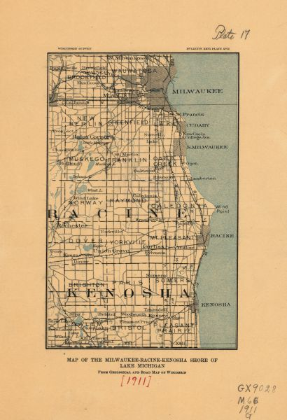 A map of the Racine, Kenosha, and portions of Milwaukee counties, that shows the townships in Racine and Kenosha, and the townships of Brookfield, New Berlin, Wauatosa, New Berlin, Muskego, Franklin, Oak Creek, Lake, and Milwaukee.   The maps also identifies the location of a number of lakes in the area including, Silver Lake, Camp Lake, Eagle Lake, Wind Lake, and Muskego Lake.