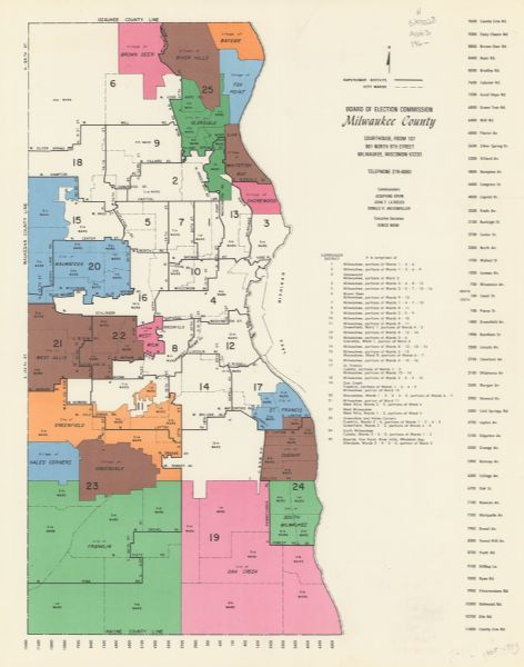 Milwaukee County Map Map of Milwaukee County Supervisor Districts and City Wards | Map  Milwaukee County Map