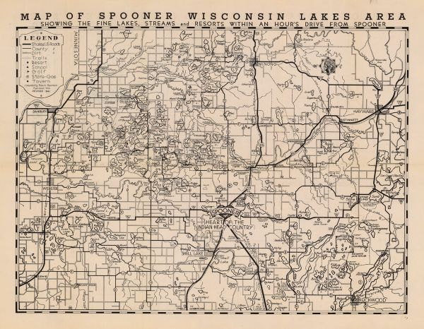 Map of Spooner, Wisconsin Lakes Area | Map or Atlas | Wisconsin