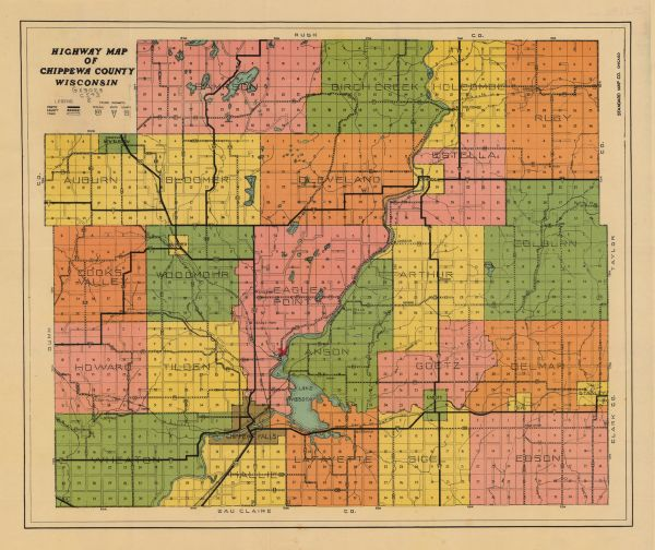 Highway Map of Chippewa County, Wisconsin | Map or Atlas | Wisconsin ...