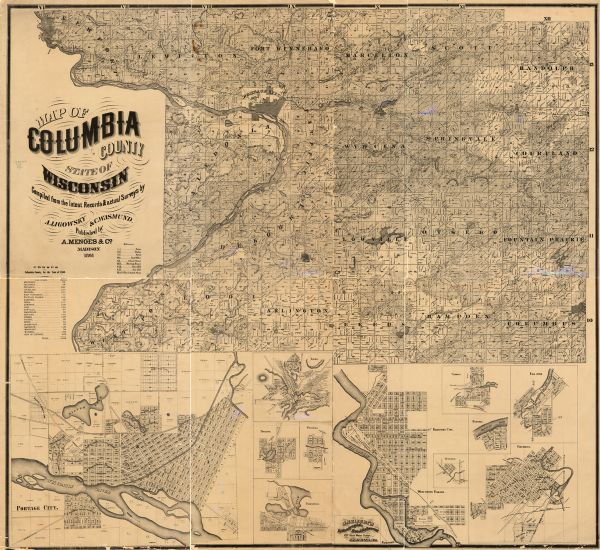 This 1861 map of Columbia County, Wisconsin, shows the township and range grid, towns, sections, cities and villages, railroads, roads, property owners and rural residences, lakes and streams, prairies, timber land, marshes, post offices, schools, meeting houses, grist mills, saw mills, and blacksmith shops. Inset maps of Portage, Lodi, Poynette, Wyocena, Pardeeville, Wisconsin Village and Kilbourn City (present day Wisconsin Dells), Otsego, Cambria, Dekorra, Columbus, and Fall River, and census information for Columbia County for the year 1860 are included.