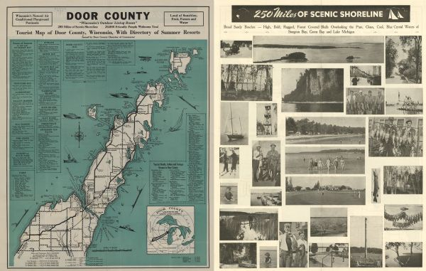 Door County Tourist Map Of Door County Wisconsin With Directory