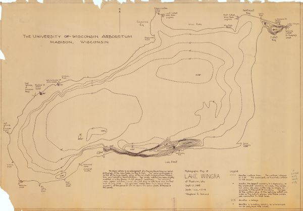 This 1948 map shows contour and spot depths in Lake Wingra in Madison, Wisconsin. The shore outline is based on a 1940 aerial photograph.