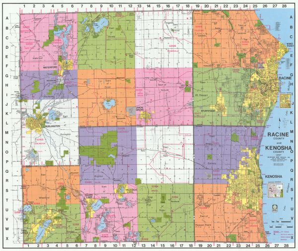 Racine County And Kenosha County Map Or Atlas Wisconsin