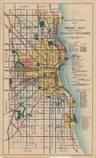 Milwaukee State Map.Map Of Milwaukee County Showing System Of State And County Trunk