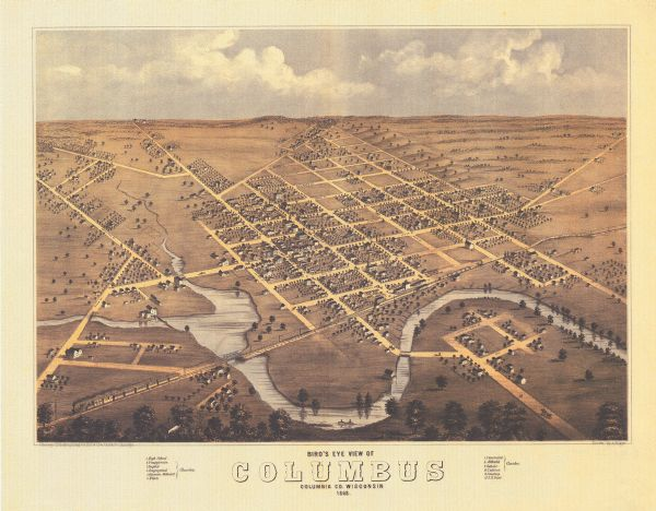 This 1868 birds-eye view depicts the buildings, streets, railroad, vegetation and topography of Columbus, Wisconsin. The high school, cemetery, railroad depot, and churches are identified.