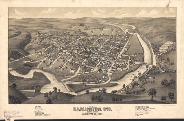 Darlington's first settlers arrived by 1826, attracted by the lead mines of the area. Arrival of the railroad in 1856 stimulated growth, and in 1857 the county seat was moved to Darlington from Shullsburg.