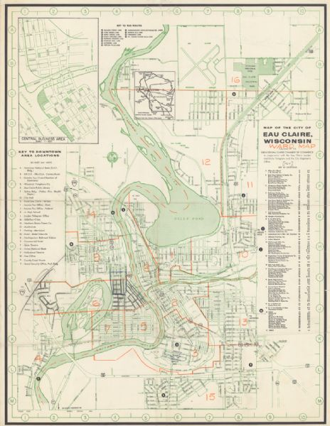 Shows local streets, bus routes, highways, airport, Dells Pond, Half Moon Lake, Chippewa River, and Eau Claire River. Includes 2 inset maps: Location map and central business area map. Includes index to downtown area locations, other locations, bus routes and street guide. Also includes significant manuscript annotations showing wards of Eau Claire in orange.