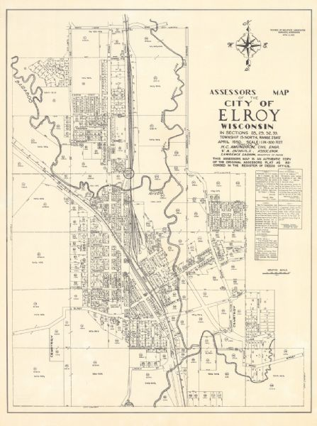Assessors Map Of The City Of Elroy Wisconsin In Sections 28 29