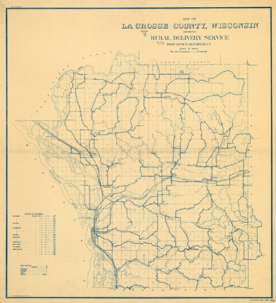 Map Of La Crosse County Wisconsin Showing Rural Delivery Service