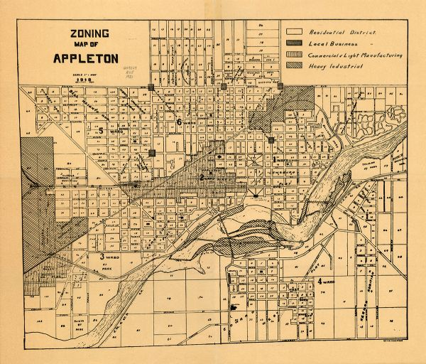 Zoning Map of Appleton Map or Atlas Wisconsin Historical Society