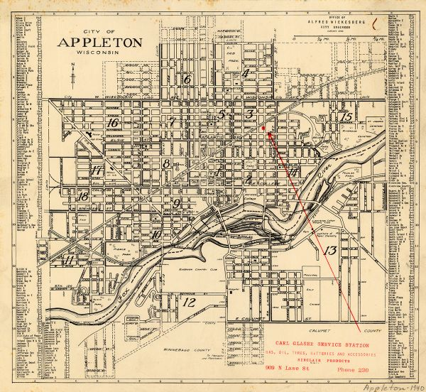 City of Appleton Wisconsin Map or Atlas Wisconsin Historical Society