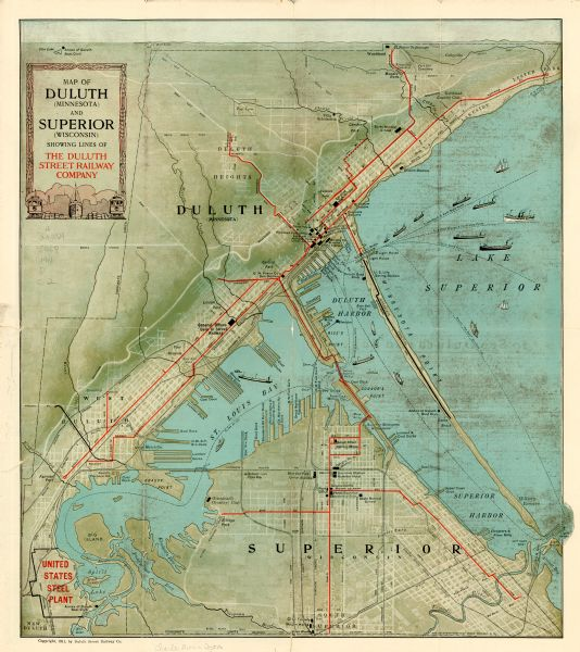 Map of Duluth Minnesota and Superior Wisconsin Showing Lines of the Duluth Map on