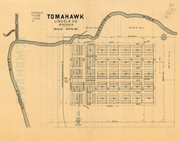 Tomahawk Wisconsin Map.Tomahawk Wisconsin Tomahawk Land And Boom County 1887 Map Or