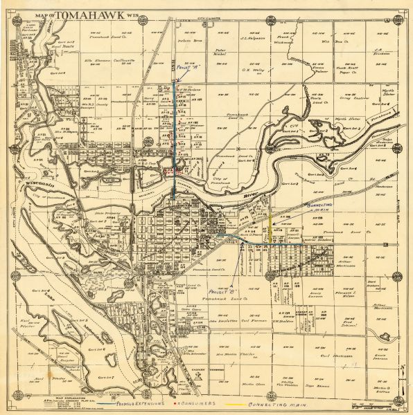 Tomahawk Wisconsin Map.Map Of Tomahawk Wisconsin Map Or Atlas Wisconsin Historical Society