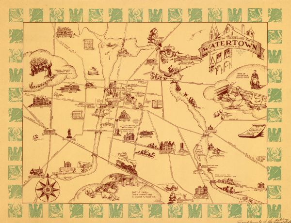 Historical and Illustrated Map of Watertown Wisconsin | Map or Atlas ...