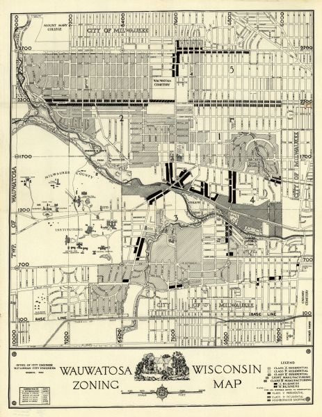 This map of Wauwatosa shows 10 zoning class types of land including residential, manufacturing, and business. The map also shows government buildings, some points of interests and labeled streets. The bottom left corner includes a correction box.