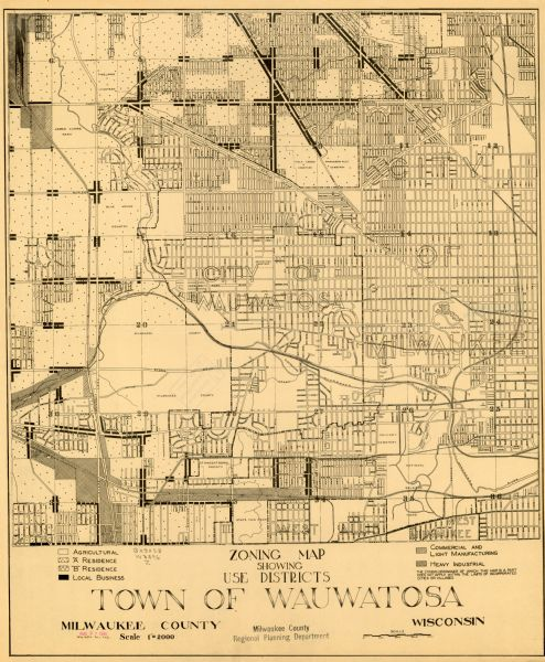 Zoning Map Showing Use Districts Town of Wauwatosa Milwaukee County