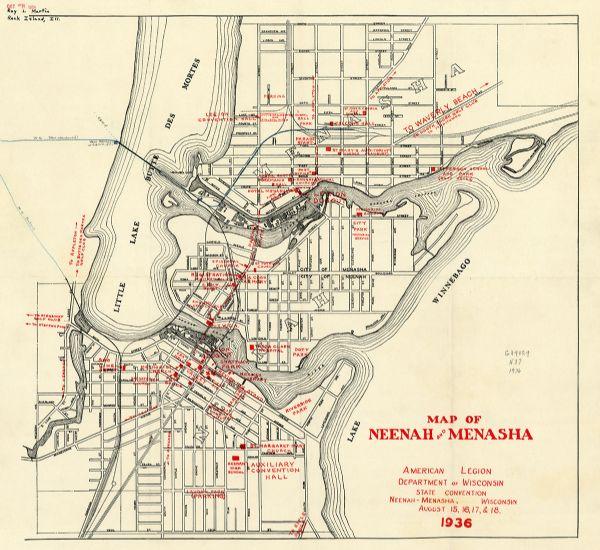 Map Of Neenah And Menasha American Legion Department Of Wisconsin