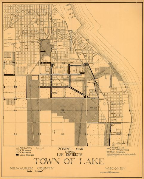 Zoning Map Showing Use Districts, Town Of Lake, Milwaukee