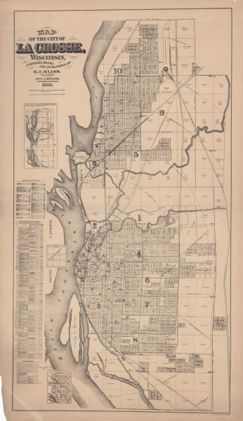 This map has relief shown by hachures and features inset maps of a plat of E.D. Clinton and Blackwell's add'n to the City of La Crosse. Wards (1-10) shaded in color. The map has an alphabetical index to list of plats, List of plats in order of date of record, Plats not upon record.The map also shows names of additions, streets, railroads, roundhouses, Burlington Club House, sawmills, schools, mills, churches, Hanford Oil Company Warehouse, banks, post office, boarding houses, foundry shops, street car stables, cemeteries, Trotting Park, Concordia Social Hall, breweries, gas works, cooper shops, tanneries, La Crosse Plow Works, Electric Light and Power Co.,carriage factory, flour mills, hotels, pork packing houses, court house, jail, La Crosse Business College, La Crosse Cracker Company, marble works, library, market square, Boiler Works, City Water Works, pump house, dry house, public square, soda water factory, hospital, convent, woolen mill, armory, Saint. Michaels Orphan Asylum, shooting park.