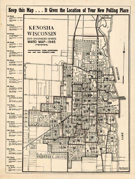 Kenosha, Wisconsin : Ward Map | Map or Atlas | Wisconsin ... on st francis map, door map, grand chute map, norman map, sheboygan map, woodstock map, fennimore map, prairie crossing map, superior map, fond du lac zip code map, racine wisconsin map, oconomowoc map, waukesha map, schererville map, lafayette map, greensboro map, city of racine map, wilmot map, wausau map, peoria map,