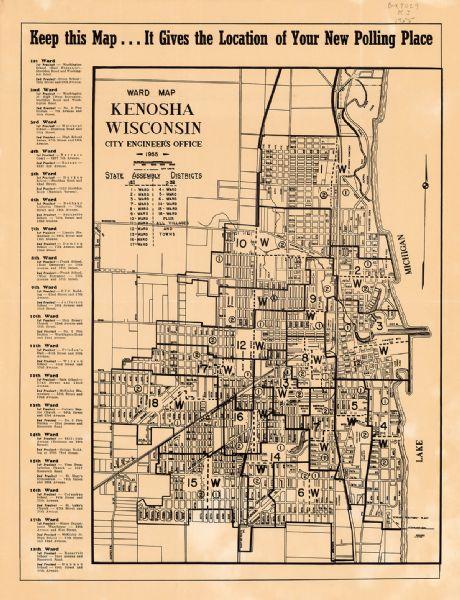 Ward Map, Kenosha, Wisconsin | Map or Atlas | Wisconsin ... Map Kenosha on st francis map, door map, grand chute map, norman map, sheboygan map, woodstock map, fennimore map, prairie crossing map, superior map, fond du lac zip code map, racine wisconsin map, oconomowoc map, waukesha map, schererville map, lafayette map, greensboro map, city of racine map, wilmot map, wausau map, peoria map,