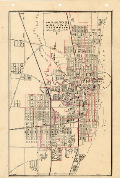 Racine Wisconsin Map.Map Of The City Of Racine Wisconsin Map Or Atlas Wisconsin
