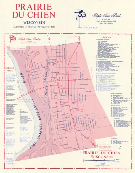 This map includes an index of streets, government and historic buildings, hospitals, schools, places of recreation, churches, cemeteries, and other miscellaneous buildings and points of interest. This map was likely given out by People's State Bank.
