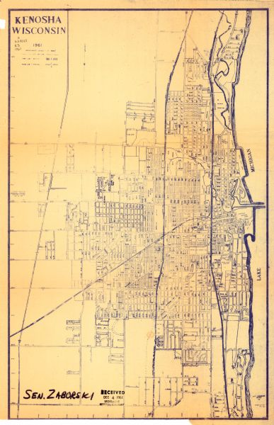 Kenosha Wisconsin 1961 Map Or Atlas Wisconsin Historical Society