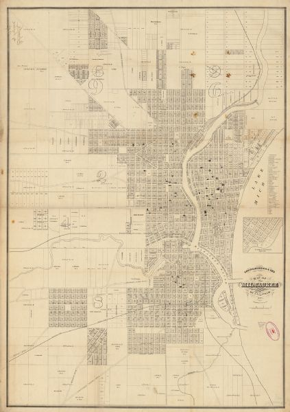 "This map shows lot and block numbers, wards, roads, railroads, some landowners' names, and selected buildings. The map includes an inset map of Glidden & Lockwood's addition and an index of public buildings, churches, and schools. Lake Michigan and the Milwaukee River are labeled. There is an error in the printing with ward number 6 labeled as ""9"" (upper right) and 9 labeled as ""6"" (upper left)."
