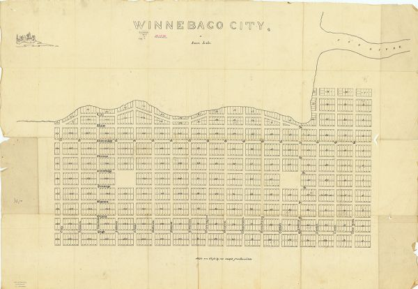 This plat map is pen-and-ink on tracing paper and shows a paper city planned in the late 1830's located on the shore of Swan Lake, Columbia County, Wisconsin. Included is an illustration of buildings in the upper left corner.