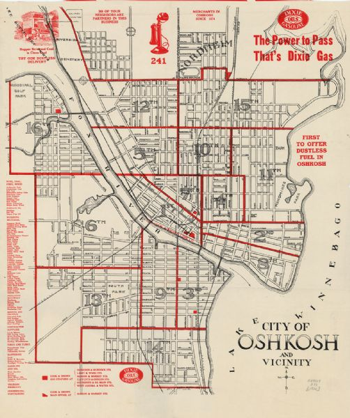 City of Oshkosh and Vicinity Map or Atlas Wisconsin Historical