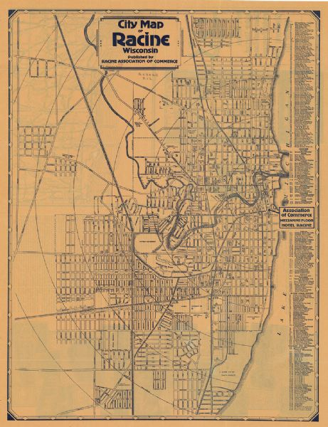 This map includes an index on the right margin of industrial plants, churches, schools, and public buildings. Streets, the Rock River, Lake Michigan, parks, and points of interest are labeled. The back of the map includes a location map, facts about the city, and illustrations.