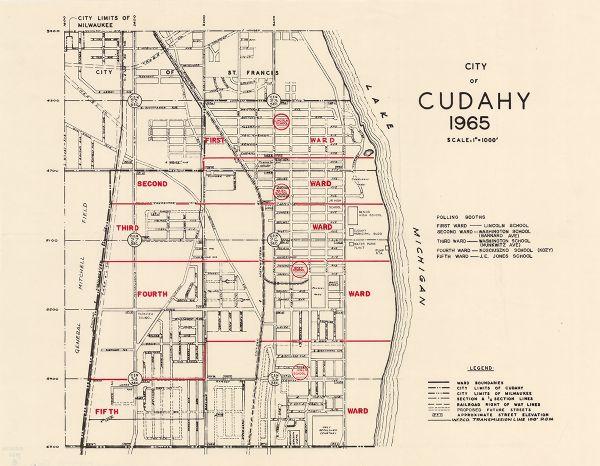 Cudahy Wisconsin Map.City Of Cudahy Map Or Atlas Wisconsin Historical Society