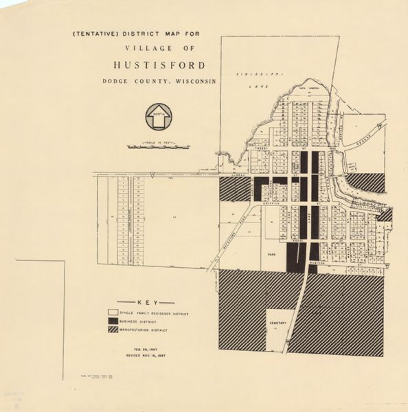 "This map shows single family residence district, business district, and manufacturing district, as well as block and lot numbers, Hustis Homestead, gravel pit, bridge, dam, park, and a cemetery. Sinissippi Lake is labeled as are streets. The middle of the map includes a key of land use. The bottom left of the map reads: ""Base map traced March 1955 ; revised Sept. 1956."""
